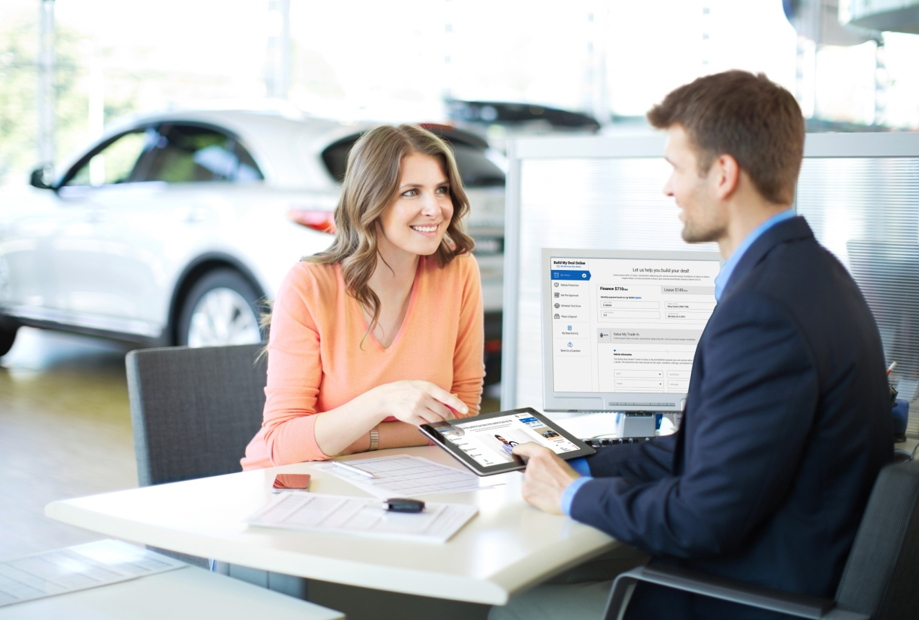 Woman buying car with connected retail